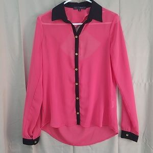 Coral button up collared shirt with back cut out